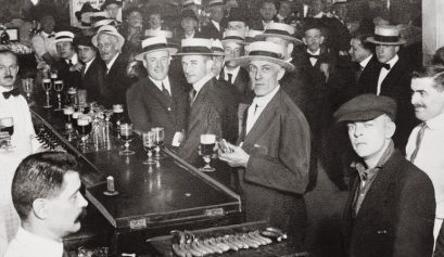 black and white photo of bar during Prohibition