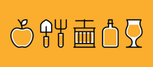 cider icons on yellow background